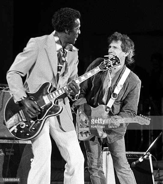 Keith Richards and Chuck Berry perform at the Chicago Blues Fest Chicago Illinois June 6 1986