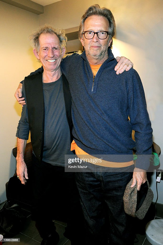 <a gi-track='captionPersonalityLinkClicked' href=/galleries/search?phrase=Keith+Richards+-+Musician&family=editorial&specificpeople=202882 ng-click='$event.stopPropagation()'>Keith Richards</a> and <a gi-track='captionPersonalityLinkClicked' href=/galleries/search?phrase=Eric+Clapton&family=editorial&specificpeople=158744 ng-click='$event.stopPropagation()'>Eric Clapton</a> backstage during Howlin For Hubert: A Concert to Benefit the Jazz Foundation of America at The Apollo Theater on February 24, 2012 in New York City.