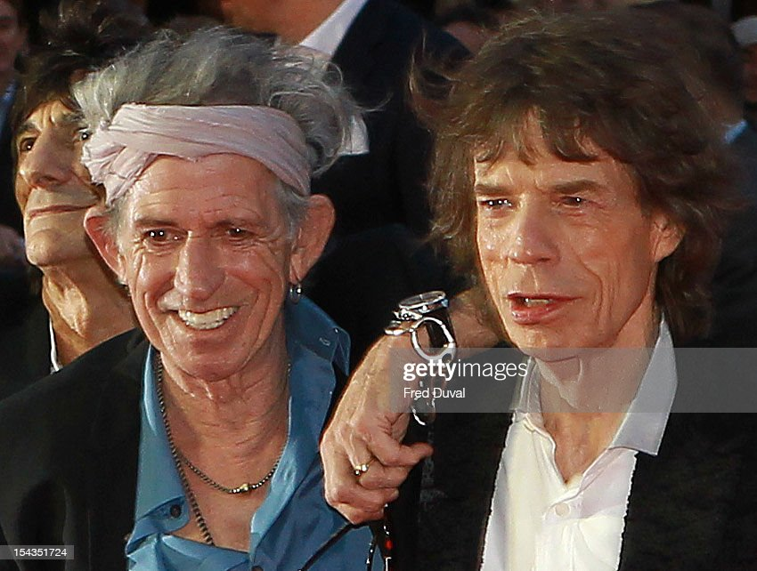 <a gi-track='captionPersonalityLinkClicked' href=/galleries/search?phrase=Keith+Richards+-+Musician&family=editorial&specificpeople=202882 ng-click='$event.stopPropagation()'>Keith Richards</a> and <a gi-track='captionPersonalityLinkClicked' href=/galleries/search?phrase=Mick+Jagger&family=editorial&specificpeople=201786 ng-click='$event.stopPropagation()'>Mick Jagger</a> attend the Premiere of 'Crossfire Hurricane' during the 56th BFI London Film Festival at Odeon Leicester Square on October 18, 2012 in London, England.