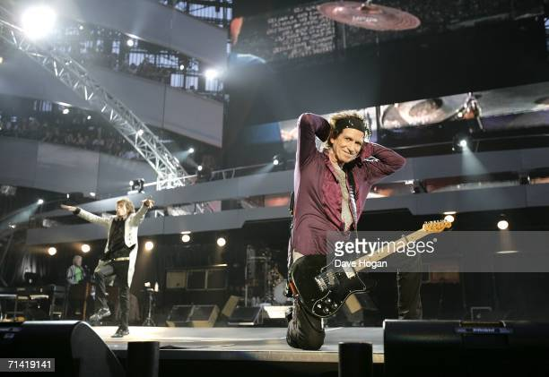Keith Richards and Mick Jagger perform onstage at San Siro Stadium July 11 2006 in Milan Italy The concert marks the start of the European leg of the...