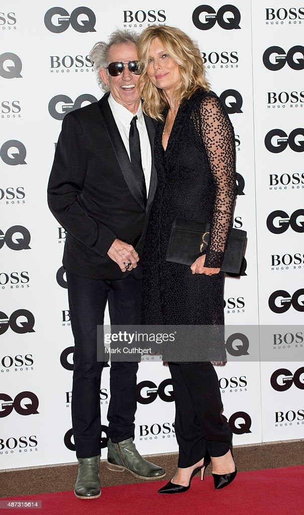 Keith Richards and Patti Hansen attend the GQ Men of the Year Awards at The Royal Opera House on September 8, 2015 in London, England.