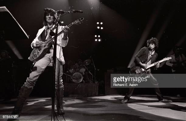 Keith Richards and Ron Wood from The Rolling Stones perform as The New Barbarians at Madison Square Garden New York on May 07 1979