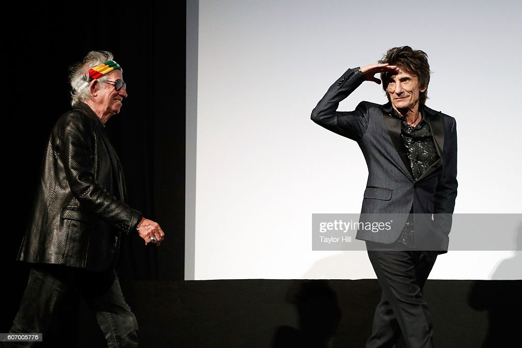 Keith Richards and Ron Wood of The Rolling Stones introduce the premiere of 'The Rolling Stones: Ole Ole Ole: A Trip Across Latin America' during the 2016 Toronto International Film Festival at Roy Thomson Hall on September 16, 2016 in Toronto, Canada.
