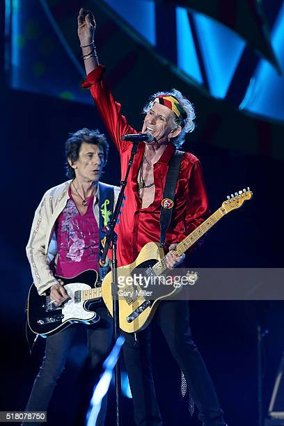 Keith Richards and Ron Wood performs with the Rolling Stones at Ciudad Deportiva on March 25 2016 in Havana Cuba