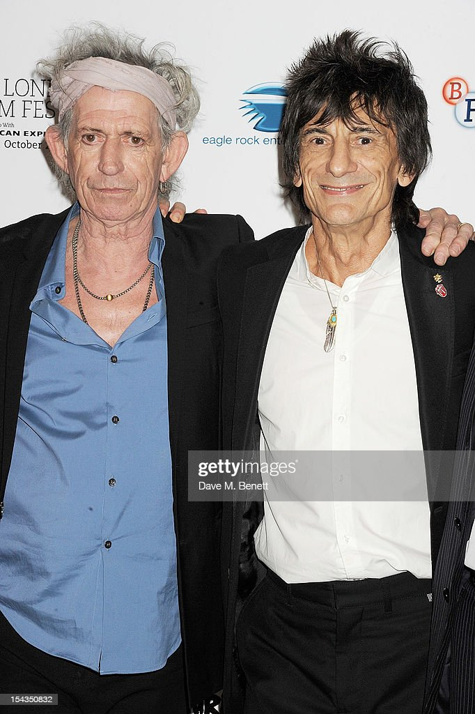 <a gi-track='captionPersonalityLinkClicked' href=/galleries/search?phrase=Keith+Richards+-+Musician&family=editorial&specificpeople=202882 ng-click='$event.stopPropagation()'>Keith Richards</a> (L) and Ronnie Wood attend the Gala Premiere of 'Crossfire Hurricane' during the 56th BFI London Film Festival at Odeon Leicester Square on October 18, 2012 in London, England.
