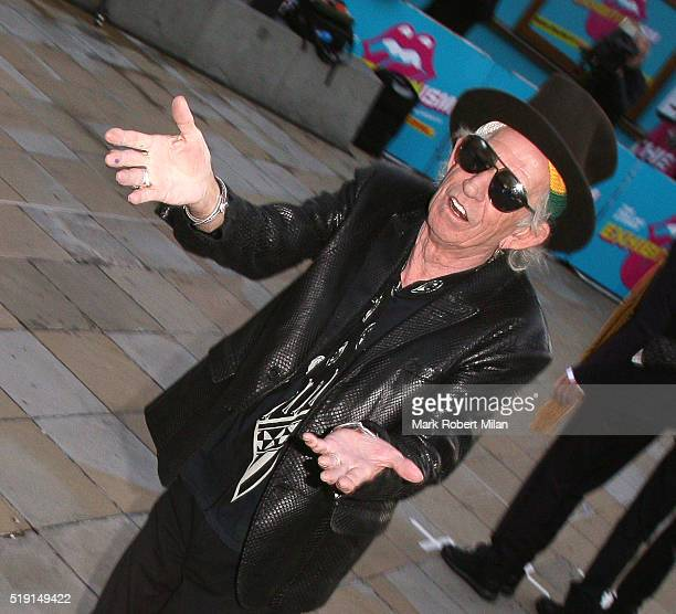 Keith Richards attending The Rolling Stones 'Exhibitionism' private view at the Saatchi Gallery on April 4 2016 in London England