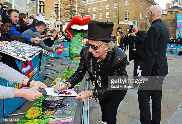 Keith Richards attends a private view of 'The Rolling Stones Exhibitionism' at The Saatchi Gallery on April 4 2016 in London England