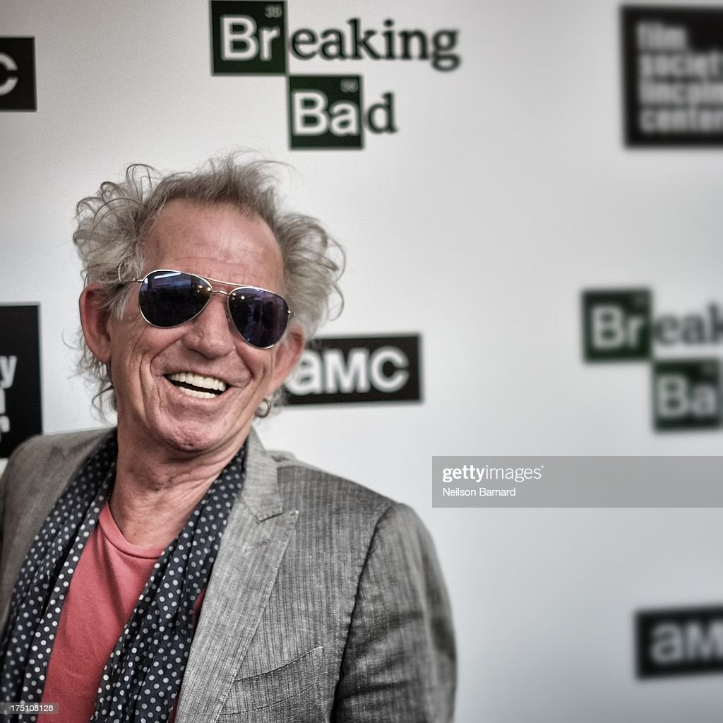<a gi-track='captionPersonalityLinkClicked' href=/galleries/search?phrase=Keith+Richards+-+Musician&family=editorial&specificpeople=202882 ng-click='$event.stopPropagation()'>Keith Richards</a> attends The Film Society Of Lincoln Center And AMC Celebration Of 'Breaking Bad' Final Episodes at The Film Society of Lincoln Center, Walter Reade Theatre on July 31, 2013 in New York City.