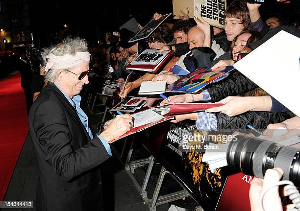 Keith Richards attends the Gala Premiere of 'Crossfire Hurricane' during the 56th BFI London Film Festival at Odeon Leicester Square on October 18...