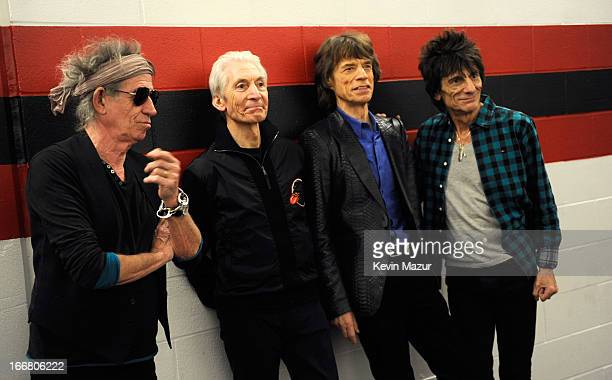 Keith Richards Charlie Watts Mick Jagger and Ronnie Wood backstage before The Rolling Stones perform at the Prudential Center on December 15 2012 in...