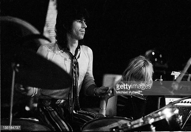Keith Richards of the Rolling Stones and his son Marlon during a soundcheck at Wembley Empire Pool London 7th September 1973