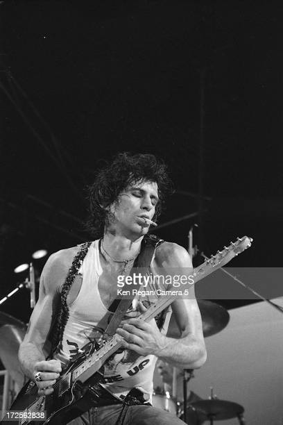 Keith Richards of the Rolling Stones is photographed on stage at Richfield Coliseum on November 16 1981 in Cleveland Ohio CREDIT MUST READ Ken...