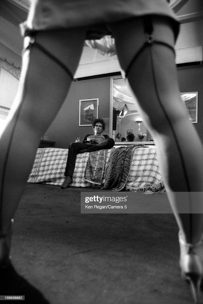 Keith Richards of the Rolling Stones is photographed on the set of 'She Was Hot' video in January 1984 in New York City.