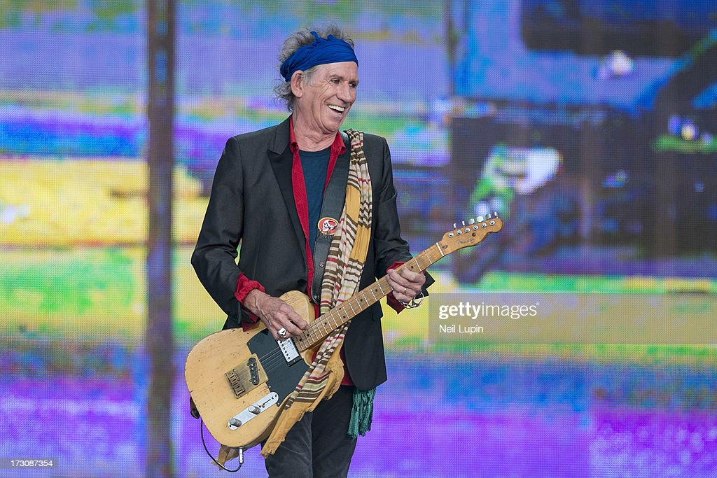 Keith Richards of The Rolling Stones performs at day 2 of British Summer Time Hyde Park presented by Barclaycard at Hyde Park on July 6, 2013 in London, England.