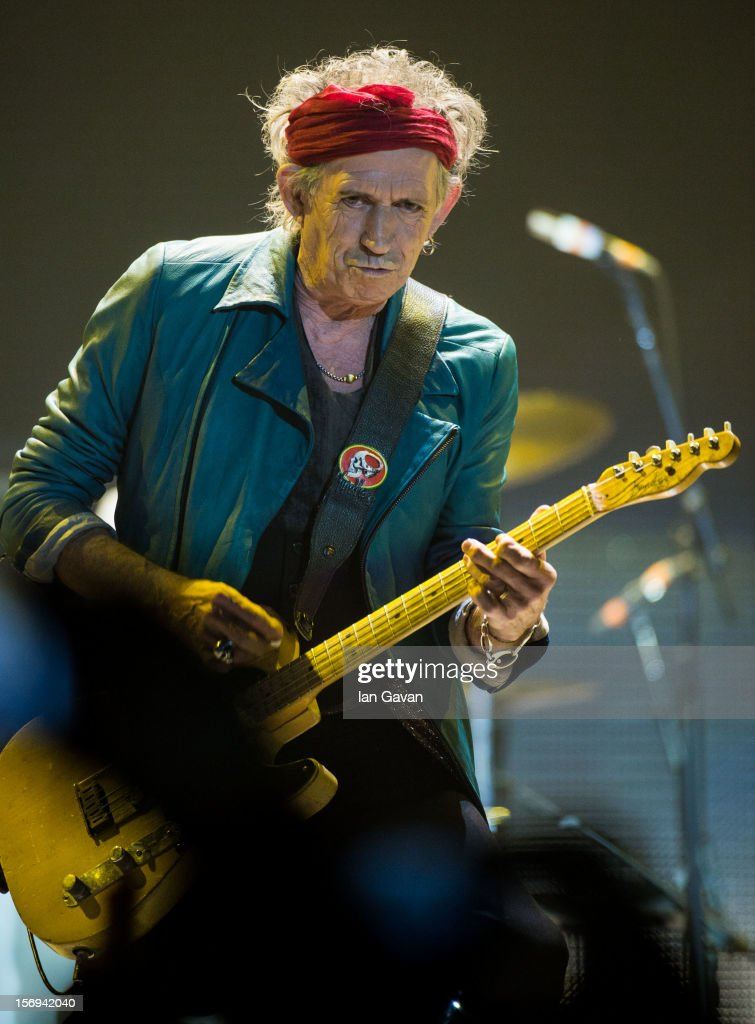 Keith Richards of The Rolling Stones performs live at 02 Arena on November 25, 2012 in London, England.