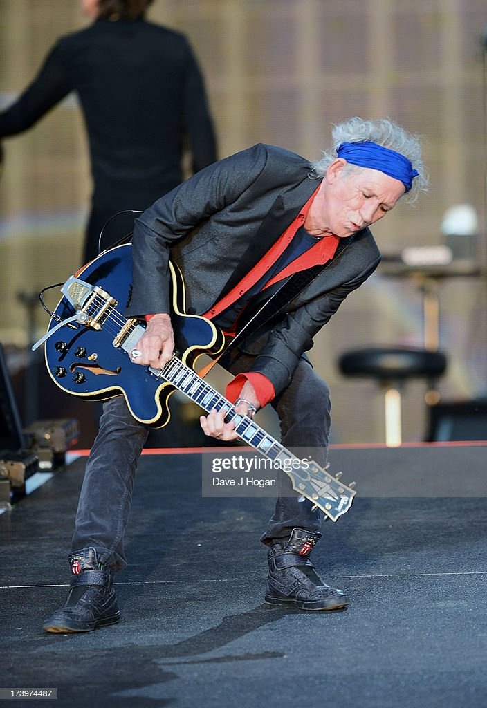 Keith Richards of The Rolling Stones performs live at Hyde Park on July 13, 2013 in London, England.