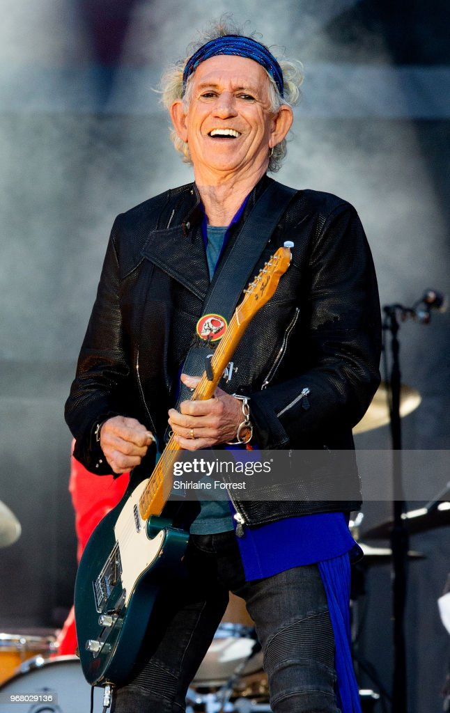 MANCHESTER, ENGLAND - JUNE 05:  Keith Richards of The Rolling Stones performs live...