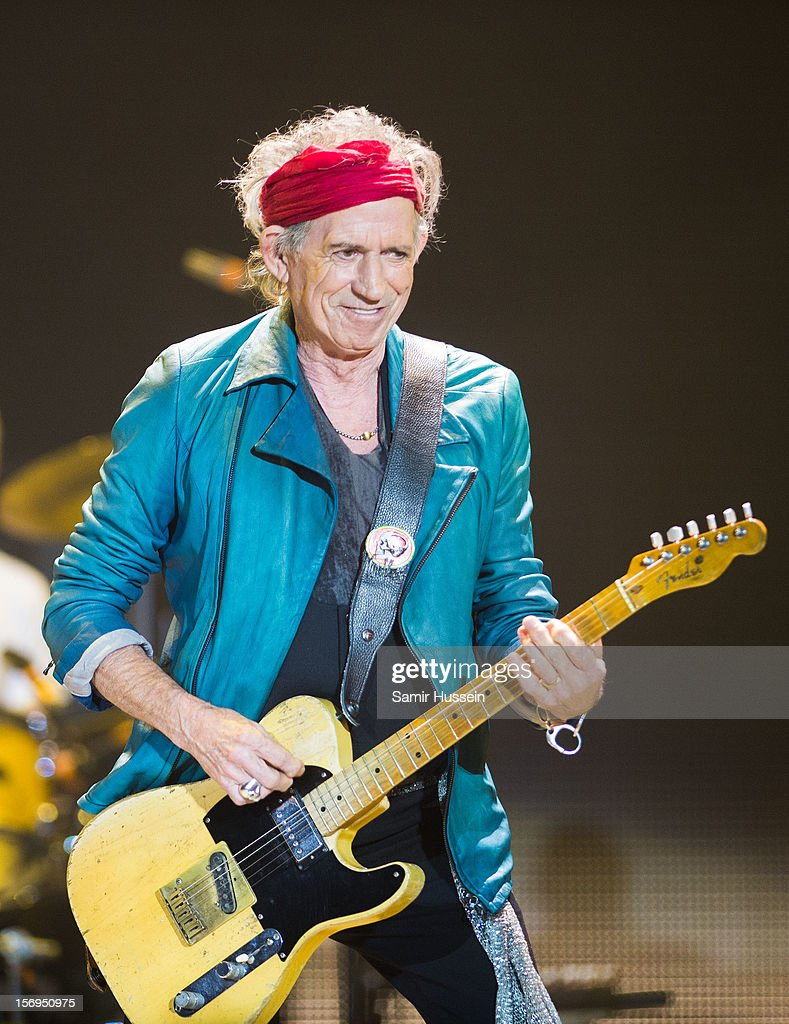 Keith Richards of The Rolling Stones performS live on stage at the first of their 50th Anniversary concerts at the O2 Arena on November 25, 2012 in London, England.