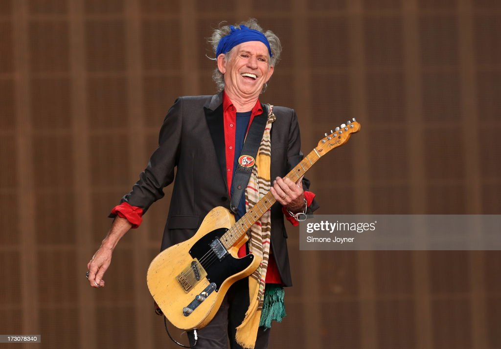 Keith Richards of The Rolling Stones performs live on stage during day two of British Summer Time Hyde Park presented by Barclaycard at Hyde Park on July 6, 2013 in London, England.