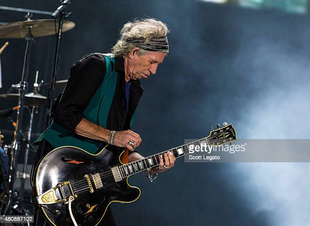 Keith Richards of the Rolling Stones performs on last date of Zip Code Tour 2015 Tour at Festival D'ete De Quebec on July 15 2015 in Quebec City...