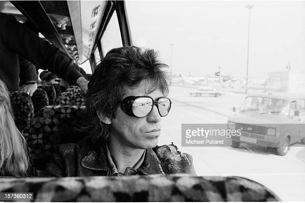 Keith Richards of the Rolling Stones sits on the tour bus during their UK tour June 1982