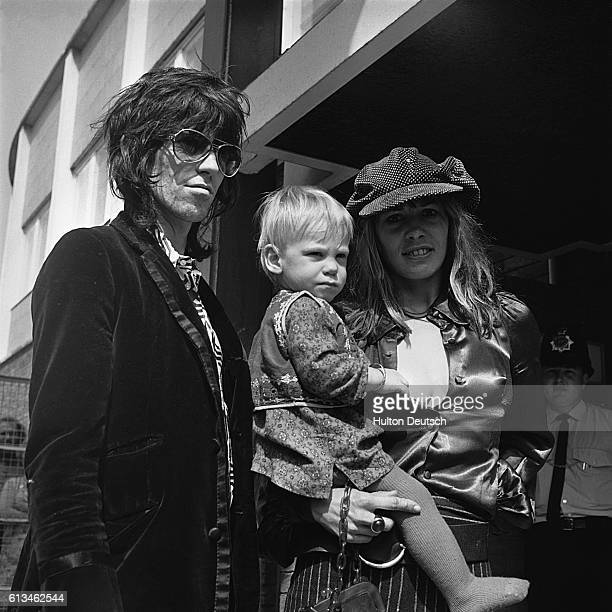Keith Richards of The Rolling Stones with Anita Pallenberg and their son Marlon in 1970