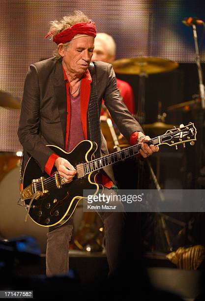 Keith Richards performs during the Rolling Stones '50 and Counting' tour at the Verizon Center on June 24 2013 in Washington DC