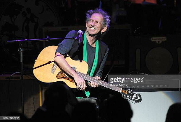 Keith Richards performs on stage during Howlin For Hubert A Concert to Benefit the Jazz Foundation of America at The Apollo Theater on February 24...