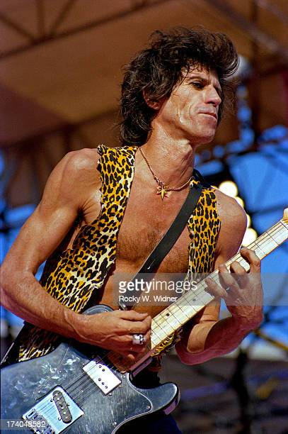 Keith Richards performs with The Rolling Stones in concert at Candlestick Park on October 18 1981 in San Francisco California