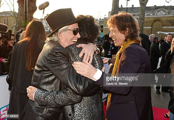 Keith Richards Ronnie Wood and Sir Mick Jagger attend a private view of 'The Rolling Stones Exhibitionism' at The Saatchi Gallery on April 4 2016 in...