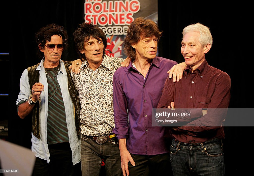 <a gi-track='captionPersonalityLinkClicked' href=/galleries/search?phrase=Keith+Richards+-+Musician&family=editorial&specificpeople=202882 ng-click='$event.stopPropagation()'>Keith Richards</a>, Ronnie Wood, <a gi-track='captionPersonalityLinkClicked' href=/galleries/search?phrase=Mick+Jagger&family=editorial&specificpeople=201786 ng-click='$event.stopPropagation()'>Mick Jagger</a> and Charlie Watts of The Rolling Stones pose for a photograph during a dress rehearsal prior to the opening concert of the 2007 European leg of their 'A Bigger Bang' World Tour at the Videohouse on June 1, 2007 in Brussels, Belgium. This leg of the Tour begins on June 5 at Werchter Park, Belgium and is due to be completed in August in London, England.