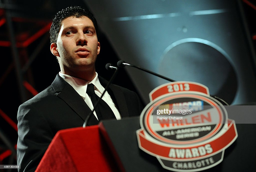 Keith Rocco, third place finisher in the NASCAR All-American Series, speaks during the NASCAR All-American Series Awards at Charlotte Convention Center on December 13, 2013 in Charlotte, North Carolina.