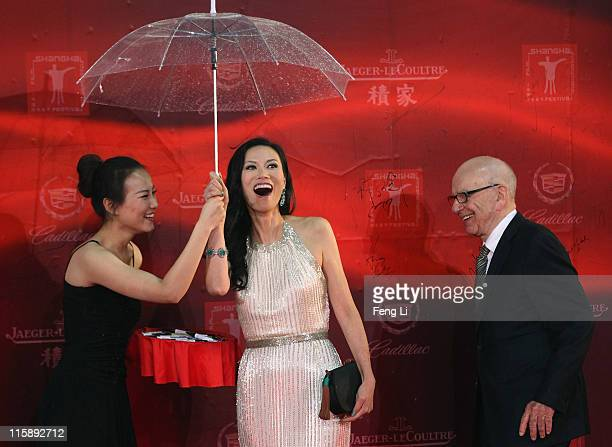Keith Rupert Murdoch and Wendi Deng Murdoch arrive at the opening ceremony of the 14th Shanghai International Film Festival on June 11 2011 in...
