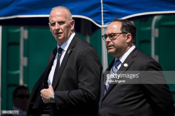 Keith Schiller President Trump's longtime bodyguard arrives at the commencement ceremony for the US Coast Guard Academy May 17 2017 in New London...