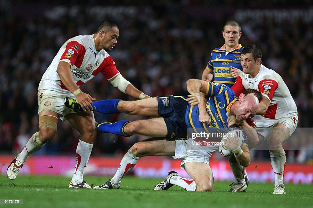 Keith Senior of Leeds Rhinos is tackled during the Engage Super League Grand Final between Leeds Rhinos and St Helens at Old Trafford on October 10, 2009 in Manchester, England.