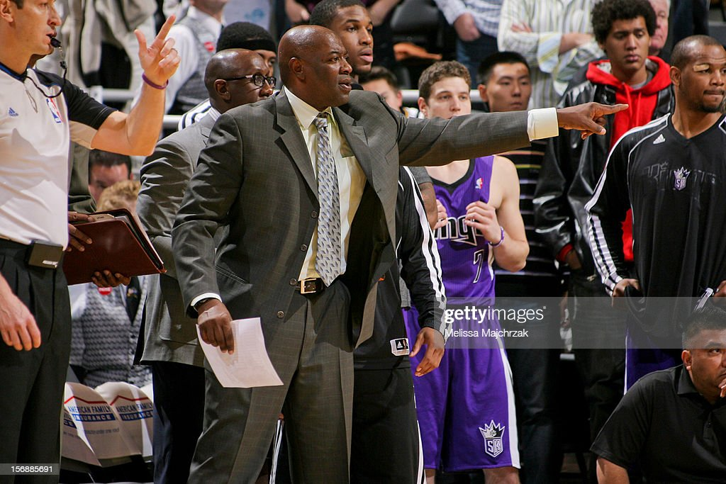 Keith Smart, head coach of the Sacramento Kings, calls plays from the sidelines against the Utah Jazz at Energy Solutions Arena on November 23, 2012 in Salt Lake City, Utah.
