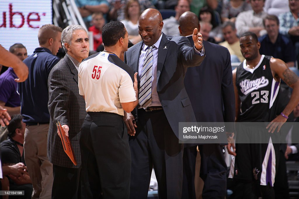 <a gi-track='captionPersonalityLinkClicked' href=/galleries/search?phrase=Keith+Smart&family=editorial&specificpeople=182522 ng-click='$event.stopPropagation()'>Keith Smart</a>, Head Coach of the Sacramento Kings reacts to a call made by the referee during his matchup against the Utah Jazz at Energy Solutions Arena on March 30, 2012 in Salt Lake City, Utah.