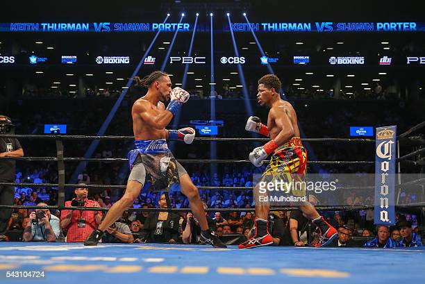 Keith Thurman and Shawn Porter during the12th round of their WBA welterweight championship bout at the Barclays Center on June 25 2016 in the...