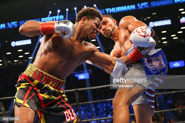 Keith Thurman and Shawn Porter trade punches during their 12 round WBA welterweight championship bout at the Barclays Center on June 25 2016 in the...