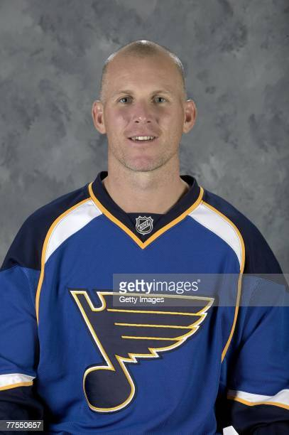 Keith Tkachuk of the St Louis Blues poses for his 2007 NHL headshot at photo day in St Louis Missouri