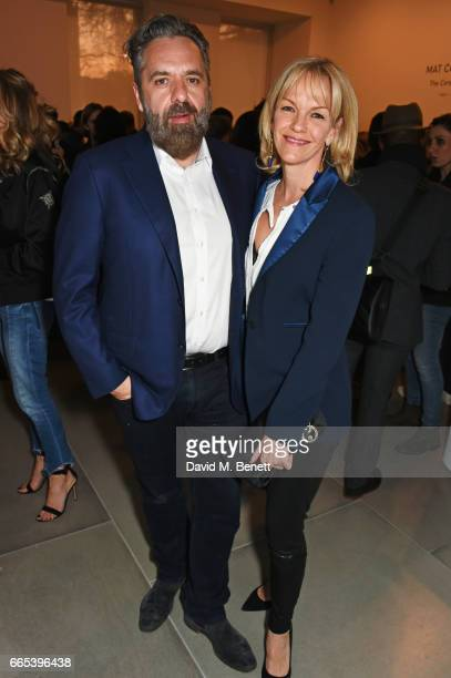 Keith Tyson and Elisabeth Murdoch attend the Private View of 'Centrifugal Soul' by Mat Collishaw at Blain Southern on April 6 2017 in London England