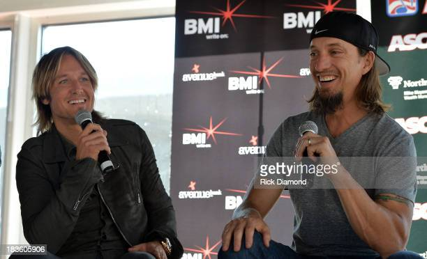 Keith Urban and cowriter Brad Warren speak with the press as Keith Urban BMI ASCAP Celebrate the No 1 Song 'Little Bit Of Everything' at Aerial In...