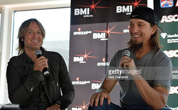 Keith Urban and cowriter Brad Warren talk with the press as Keith Urban BMI ASCAP Celebrate the No 1 Song 'Little Bit Of Everything' at Aerial In...