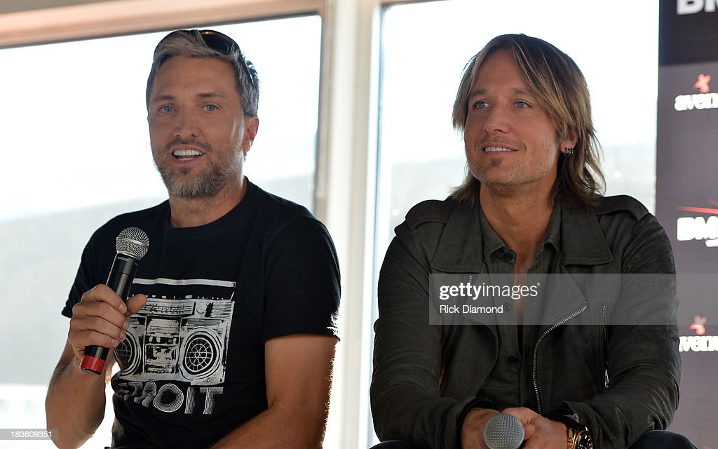 Keith Urban and co-writer Brett Warren talk with the press as Keith Urban, BMI & ASCAP Celebrate the No. 1 Song 'Little Bit Of Everything' at Aerial In Nashville on October 7, 2013 in Nashville, United States.