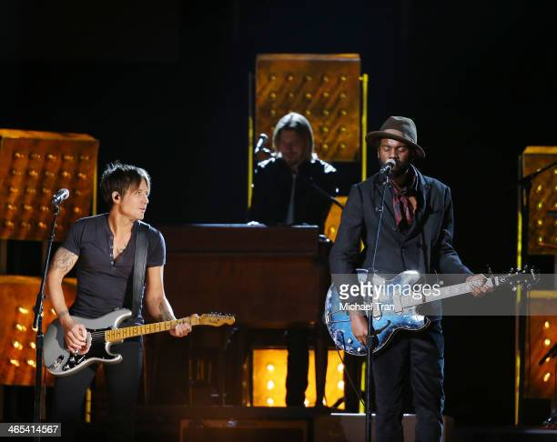 Keith Urban and Gary Clark Jr perform onstage during the 56th GRAMMY Awards held at Staples Center on January 26 2014 in Los Angeles California