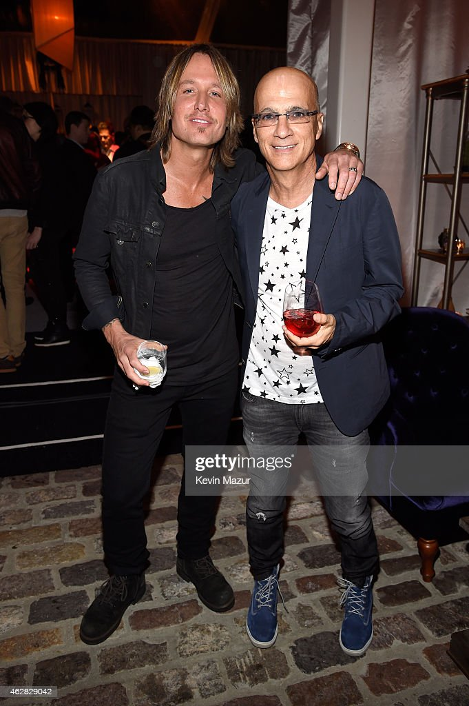 Keith Urban and Jimmy Iovine attend event honoring Nile Rodgers for his Recording Academy producers award at Private Residence on February 5 2015 in...