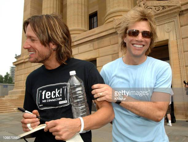 Keith Urban and Jon Bon Jovi during LIVE 8 Philadelphia Rehearsals at Philadelphia Museum of Art in Philadelphia Pennsylvania United States
