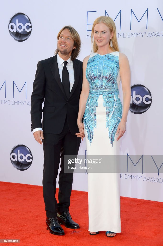 Keith Urban and Nicole Kidman arrive at the 64th Annual Primetime Emmy Awards at Nokia Theatre L.A. Live on September 23, 2012 in Los Angeles, California.