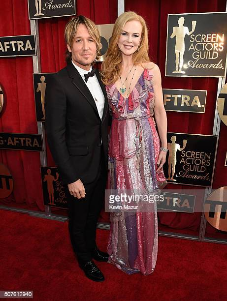 Keith Urban and Nicole Kidman attend The 22nd Annual Screen Actors Guild Awards at The Shrine Auditorium on January 30 2016 in Los Angeles California...