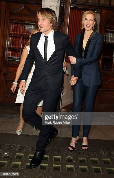 Keith Urban and Nicole Kidman leaving the Noel Coward Theatre on September 14 2015 in London England